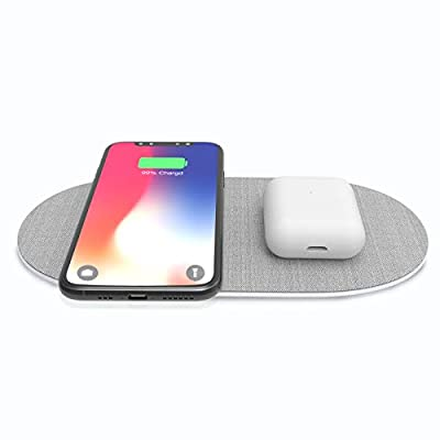 Dual Wireless Charger Pad, 7.5W/10W Double Qi F...
