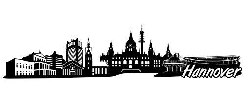 Samunshi® Hannover Skyline Wandtattoo Sticker Aufkleber Wandaufkleber City Gedruckt Hannover 120x28cm schwarz
