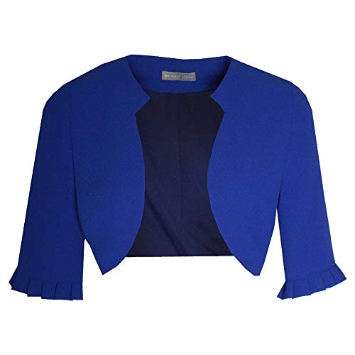 Michaela Louisa 3/4 Sleeve Edge to Edge Bolero Jacket 12 Royal