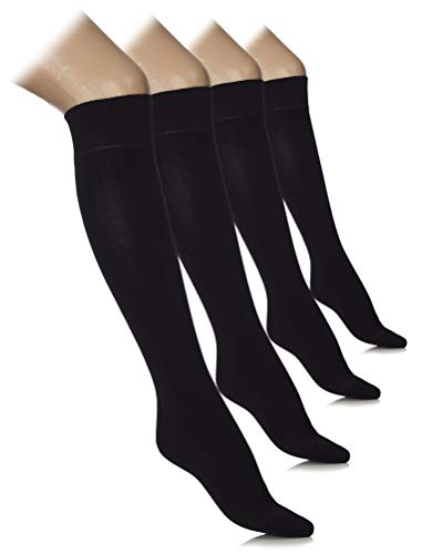 Hugh Ugoli Women's Lightweight Knee High Dress Socks Bamboo Comfort Seam, 4 Pairs, Black, Shoe Size: 8-11