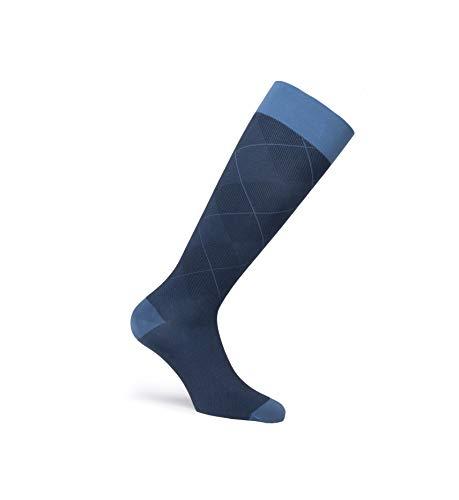 JOBST Kniestrümpfe mit lässigem Muster, geschlossener Zehenbereich, 20-30 mmHg, feste Unterstützung für geschmöchtene Beine, Ozeanblau, Größe: M, normale Länge