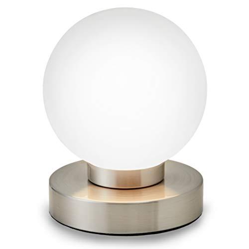 B.K. Lampada da comodino, forma a sfera, interruttore touch, luce da tavolo, abat-jour dimmerabile, metallo cromato e vetro bianco, 25W, attacco per lampadina E14 alogena (non incusa)