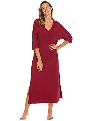 Declare Women V-Neck 3/4 Sleeve Split Hem Loose V-Neck Full Nightgown S-XL