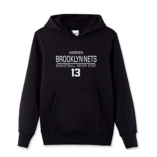 USSU HǎRDěn Něts 13# Baloncesto Jersey de Manga Larga Abrigo Deportivo suéter de Entrenamiento Uniforme Sportswear Sports Fan Jerseys Chándal, Secado rápido, Concurso en Black-XXL