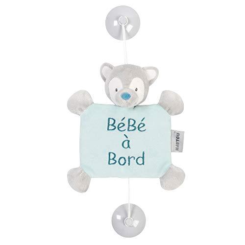 """Nattou """"Bébé à Bord"""" Schild mit Saugnapf, 38 x 18 x 5, Tim und Tiloo, Blau/Grau"""
