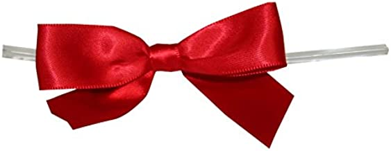 Reliant Ribbon Satin Twist Tie Large Bows, 7/8 Inch X 100 Pieces, Red