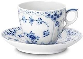Royal Copenhagen Blue Fluted Half Lace 5.75 oz. Cup and Saucer