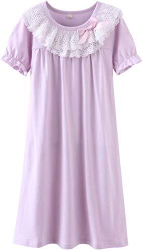 HOYMN Nachthemden für Mädchen Spitze Nachthemd für Herbst-Winter 100% Baumwolle 3-13 Jahre, 170/84, Kurzes Violett