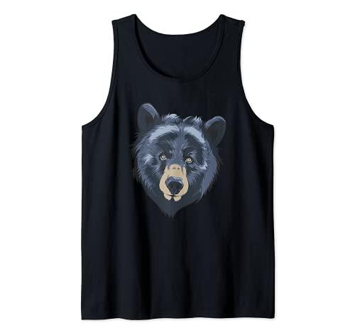 Oso Negro Cabeza Safari Vida Silvestre Animal Whisperer Zologo Camiseta sin Mangas