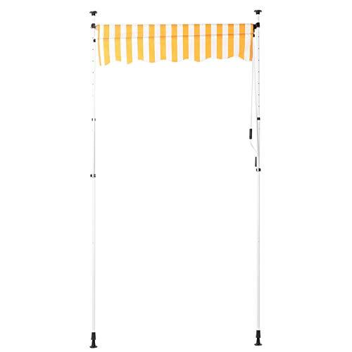 Shipenophy Toldo para Puerta, toldo Manual, fácil de Montar, Impermeable, retráctil para Patio, jardín(Yellow and White Strips)