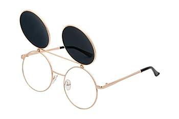 J&L Glasses Retro Flip-Up Round Goggles Seampunk Sunglasses  Golden,Black Clear  JL60