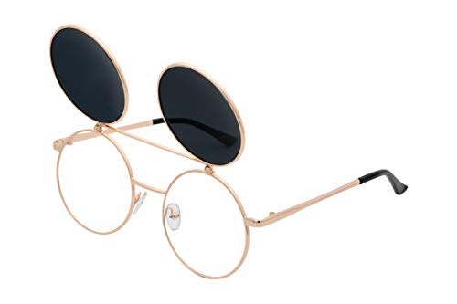 J&L Glasses Retro Flip-Up Round Goggles Seampunk Sunglasses (Golden,Black, Clear), JL60