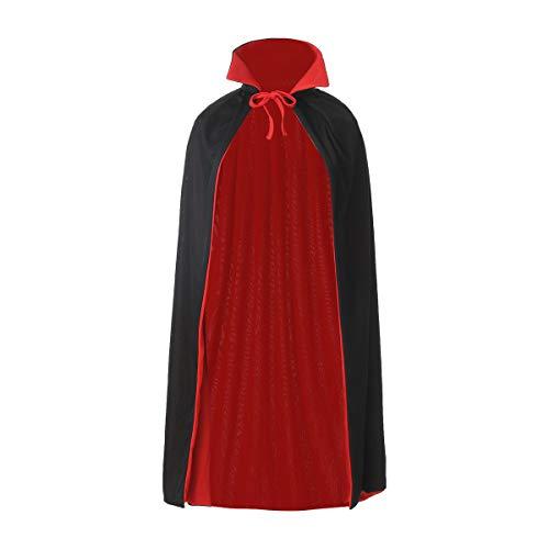 Carnavalife, Capa con Capucha Largo Medieval Reversible con Cuello, Vampiro, Fiesta de Carnaval Halloween, Negra Y Rojo, Talla 90cm