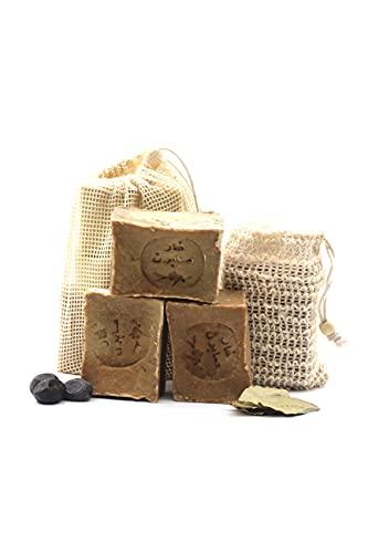 Original Aleppo Seife Set, 90% Olivenöl 10% Lorbeeröl, 3x ca.150g + Sisal Seifensäckchen und Reisebeutel, Handmade, Vegan, Naturprodukt, Haarseife, Duschseife, Original Rezeptur