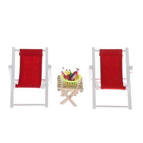 MagiDeal Puppenhaus Möbel Gartenliege 2er Set Bäderliege mit Tisch Puppenhausmöbel - Rot