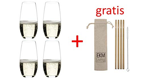 RIEDEL, Champagner-Glas O 4er Set, 0414/28 x 2 + Gratis 4er Set EKM Living Edelstahl Trinkhalme