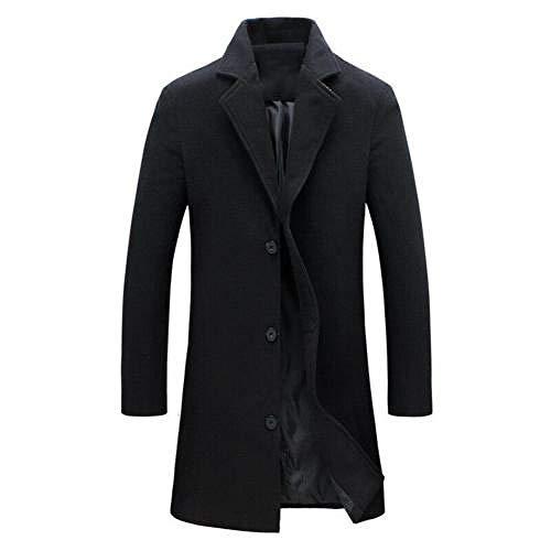 Abrigos de lana de los hombres Color sólido Solapa de un solo pecho chaqueta de abrigo casual