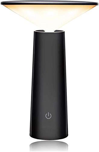 Lámpara de mesa USB recargable para lectura de escritorio, lámpara de noche de 3 W, atenuación continua, control táctil, lámpara de mesa giratoria (Color del cuerpo: Negro) - Negro