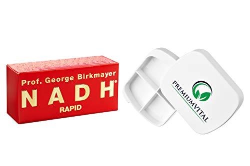 Professionale George Birkmayer NADH – Rapid (20 mg NADH/Coenzym 1 per tavola) – Offerta vantaggiosa + Contenitore per pillole gratis di Premiumvital