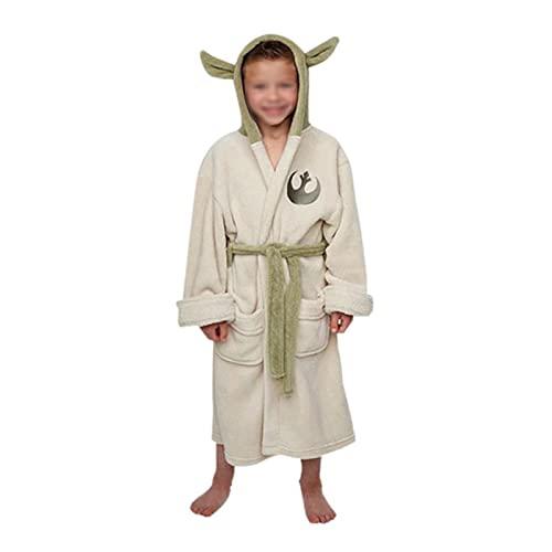 DDXY-Unisex Yoda Cosplay Bademantel für Erwachsene Kinder,Korallen Wollpyjamas,Daily Wear Bademantel mit Kapuze, Sauna Nachtwäsche,Beige,6~10years