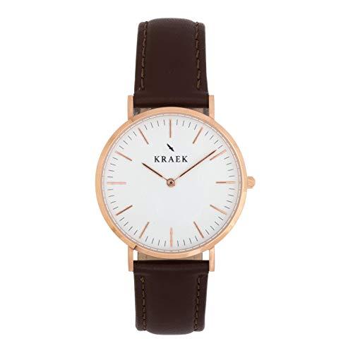 KRAEK Lark Rose Gold 36 mm – Esfera blanca – Reloj de mujer – Correa de piel marrón – Diseño redondo fortalecimiento de las mujeres en Asia – Mecanismo de calidad