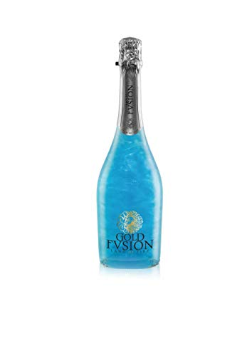Vino espumoso. GOLD FVSION Blue Sin Alcohol- ideal Día del Padre, cumpleaños, carnaval, Halloween, fiesta, celebración, boda