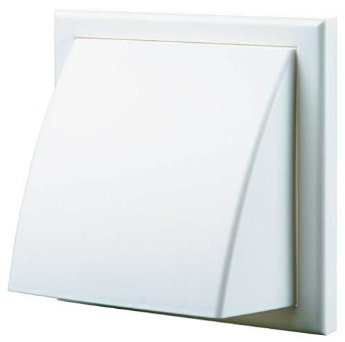 Blauberg - Rejilla de ventilación de aire, de pared con capucha, de plástico, con espita redonda, obturador, contrafuerte de para viento, 155 x 155/100Hk, color blanco, 100mm, blanco, 1