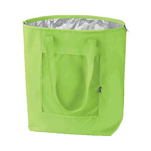 noTrash2003 - Borsa per la spesa pieghevole con custodia, leggera e robusta, con rivestimento interno in alluminio per surgelati, in 6 vivaci colori, Tessuto, verde chiaro, 41 cm x 44 cm x 14 cm