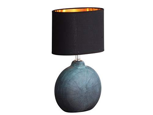 Honsel LED Tischlampe FORO, Keramik grün / schwarz, Stoffschirm schwarz / kupfer, Höhe 37cm