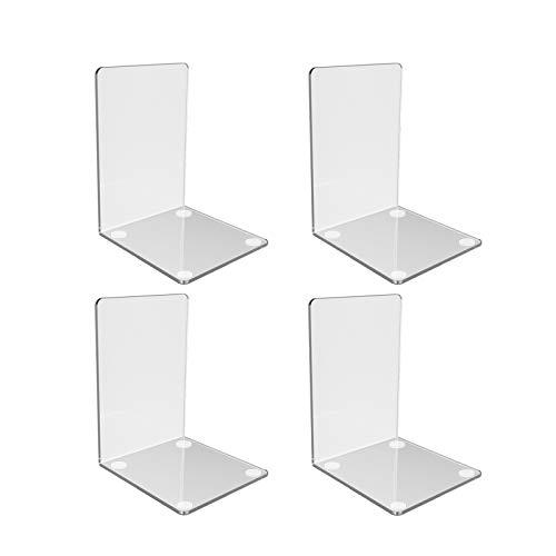 Kioneer Hisredsun Buchstützen aus Acryl, transparent, 2 Paar rutschfeste Buchstützen aus Kunststoff Buchstützen für Regale