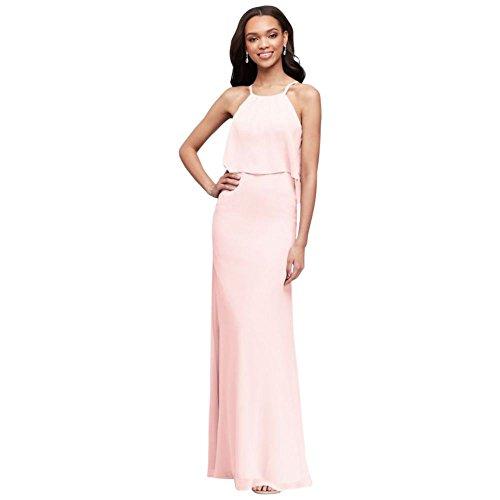 David's Bridal Flounced Crinkle Chiffon Sheath Bridesmaid Dress Style F19773, Petal, 2