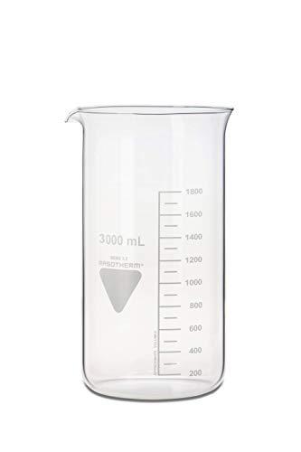 neoLab - Vaso de precipitado con boquilla Kimax Boro 3.3, de cristal, 3000 mL, Transparente (transparente), 1
