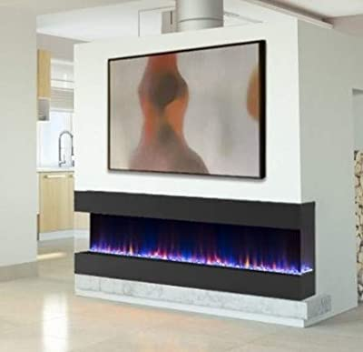 60 INCH DIGITAL FLAMES Designer Black Recess Insert 1400KW Wall Mounted Electric FIRE 3 Sided Open Front Glass FIRE 2020