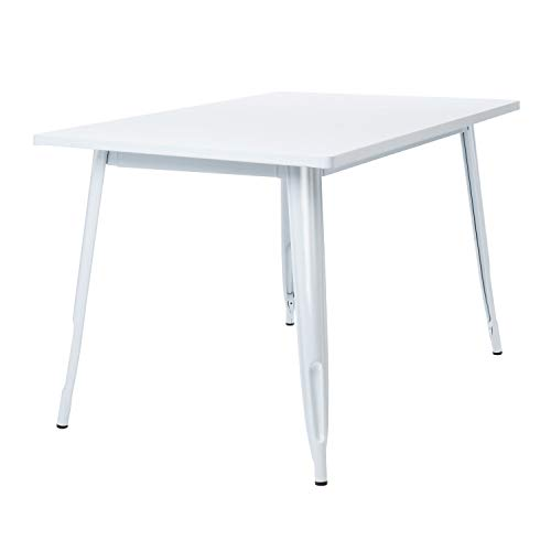 SKLUM Mesa Rectangular en Acero (120x80 cm) LIX Acero Brillante Blanco - (Elige Color)