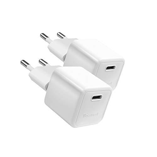 Hosanwell - Cargador USB C, 20 W, 2 unidades, PD 3.0 tipo C, mini fuente de alimentación con conector para iPhone 12 11 Pro Max X XS XR 8, Samsung S20 S10 S9 S8 Pixeles (sin cable)