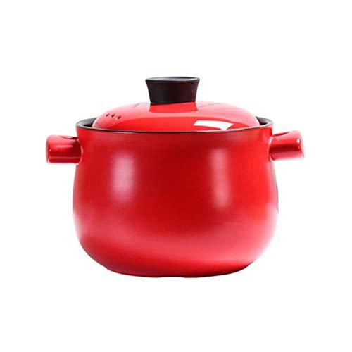 Cazuela, estofado, olla de sopa,Cazuelas Y Terrinas Cacerolas Y Cazuelas De Barro Cazuela Hierro Fundido,Gama de gas de cerámica roja resistente a altas temperaturas del hogar de Stewpot -4.0L