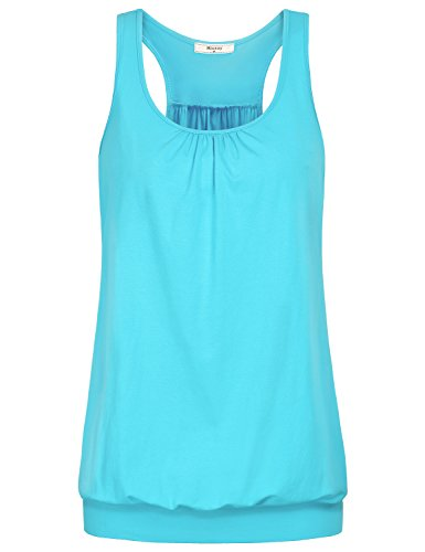 Miusey Exercise Tops for Women, Ladies Sleeveless Scoop Neck Racerback Tank Workout Athletic Activewear Junior Yoga Running Sports Fitness Shirt Blue-3 M