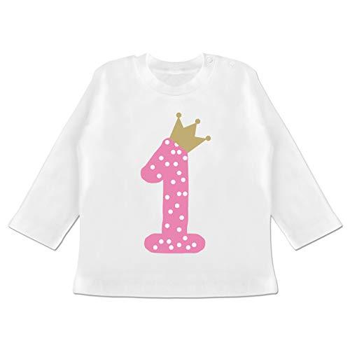 Geburtstag Baby - 1. Geburtstag Krone Mädchen Erster - 6/12 Monate - Weiß - Tshirt 1 Geburtstag mädchen - BZ11 - Baby T-Shirt Langarm