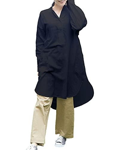 [飛馬日本(Hyuma Nihon)] チュニック 大きいサイズ!ゆったりサイズ!マタニティにも!天然素材!【Wガーゼ チュニックシャツ】LUM42611 (ブラック, 4L) レディース LUM42611 ブラック BigLong
