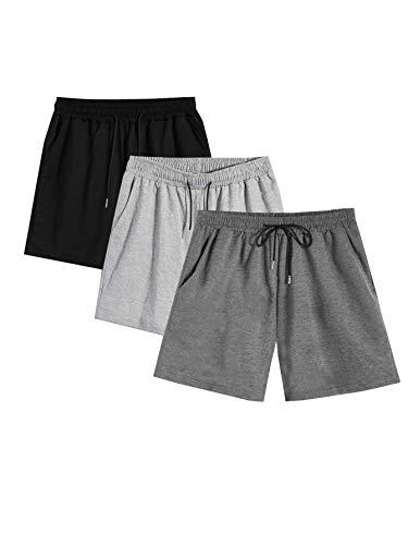 Romwe Men's 3 Pack Elastic Waist Performance Shorts with Pocket Jogger Short Set Grey XXXL