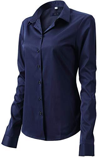 Camisa Blusa Bambú Fibra Clásica Mujer, Manga Larga, Slim Fit, Camisa Elástica Casual/Formal para Mujer, Azul Marino, 44 (Cuello 44CM, Manga 70CM)