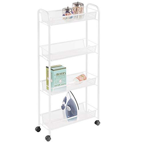 mDesign Carrito con ruedas para lavadero – Compacto mueble de lavadero para guardar detergente, quitamanchas, etc. – Práctico carro de lavandería en metal con cuatro estantes estrechos – blanco