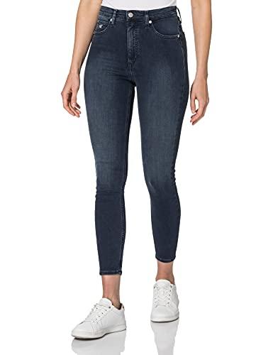 Calvin Klein High Rise Super Skinny Ankle Jeans, Denim Scuro, 25W Short Donna