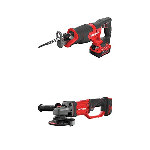 CRAFTSMAN V20 Reciprocating Saw Cordless Kit with Angle Grinder, Small, 4-1/2-Inch (CMCS300M1 & CMCG400B)
