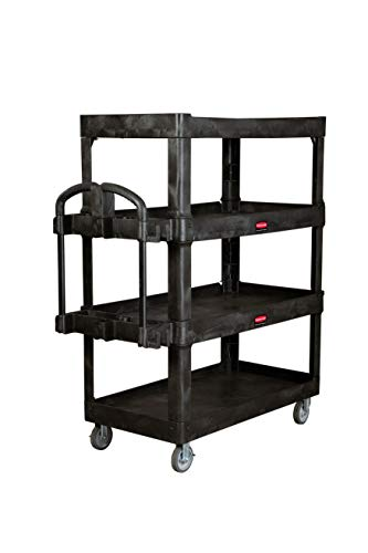 New Rubbermaid Commercial Products 4-Shelf Utility/Service Quad Cart, Heavy Duty Large, Lipped Shelf, Ergonomic Handle, 700 lbs. Capacity, for Warehouse/Garage/Cleaning/Manufacturing (2128657)