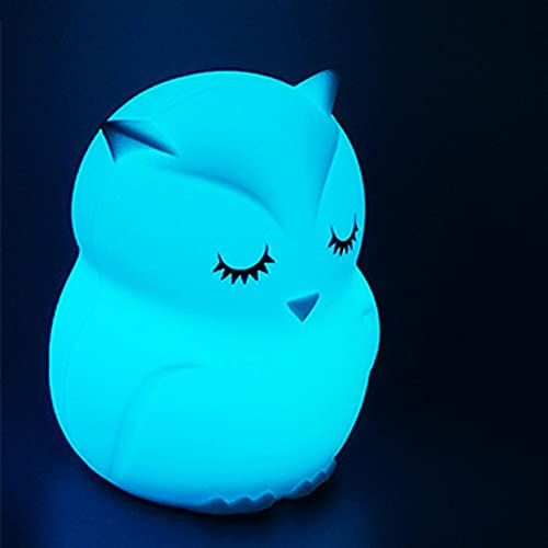 Led Owl 7 Color Night Light Silicona Touch Control Remoto Niños Cute Night Light