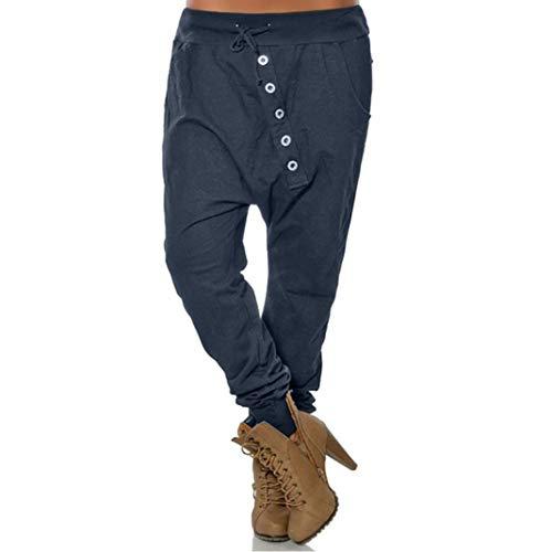 beautyjourney Pantalones de harén holgados de mujer Pantalone Bloom Pantalones casuales de Hip Hop Pantalones harem gran tamaño en color liso Pantalones deportivos de moda