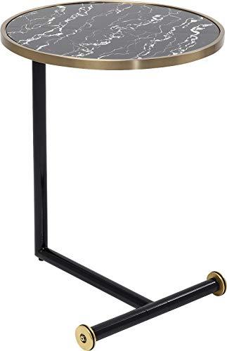 Kare Design sidobord San Remo Pole Ø46 cm, modernt soffbord med glasplatta i marmor och svart hylla, fler utföranden tillgängliga (H/B/T) 62 x 46 x 46 cm