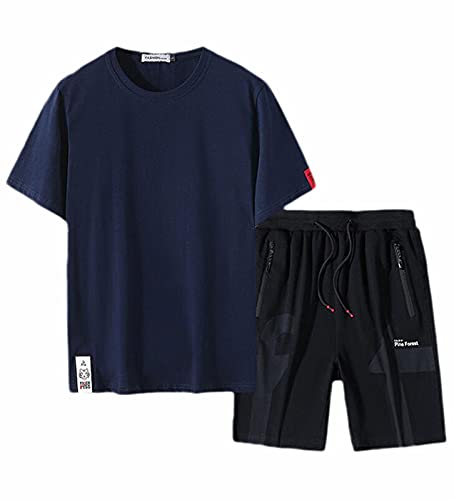 Camiseta con Cuello Redondo de Manga Corta para Hombre Pantalones Cortos Superiores con Bolsillos Casual de 2 Piezas Ropa Deportiva Camiseta de Verano Traje Deportivo Camisas de Golf cómodos