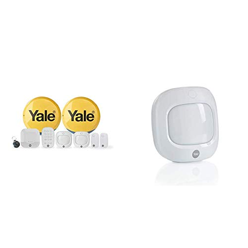 Yale IA-330 Sync Smart Home Alarm, works with Alexa, Google & Philips Hue. 9-piece kit, Self-Monitored, Geofencing, 200m range & AC-PETPIR Sync Smart Home Alarm Accessory PIR Motion Detector, White